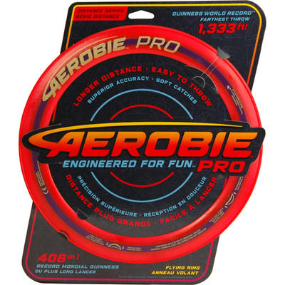 "Aerobie PRO FLYING RING - 13"" Assorted Colors - top view of red ring in packaging"