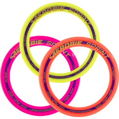 """Aerobie SPRINT FLYING RING 3 PACK - 10"""" Set of Three. Top view of three rings, yellow, pink and red. They are overlapping each other with the red one on top."""