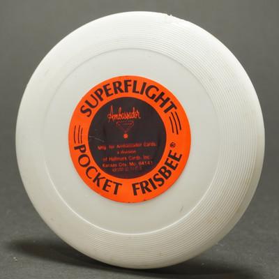 Wham-O Mini with SUPERFLIGHT Pocket Frisbee Paper Label - White
