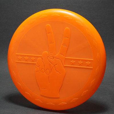 Flying Button Brand X - Embossed Peace Sign  - Orange no foil overlay