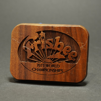 Wham-O Belt Buckle - Wood 1977 World Frisbee Championships