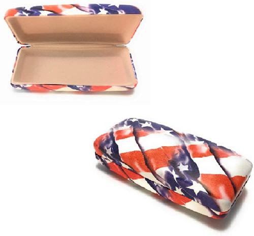 Calabria USA American Flag Hard Shell Eyeglass Case for Reading & Sun Glasses