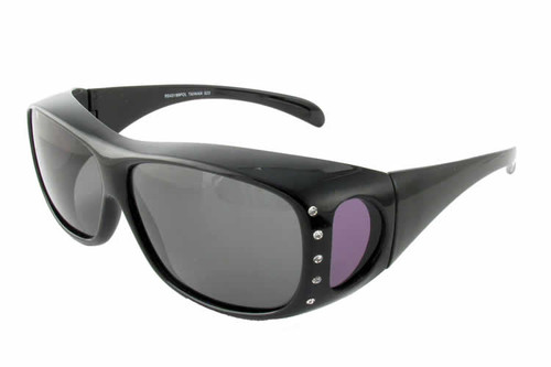 Calabria 43199 Polarized Over Sunglasses in Black w/ Crystals & Grey Lens