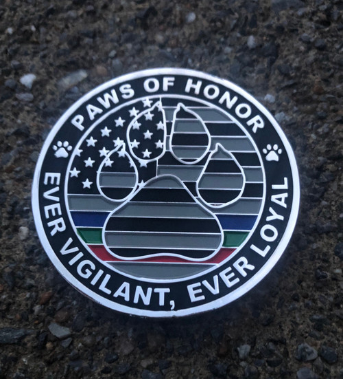 """Paws of Honor logo and our motto Two Heroes, One Leash™ and the statement """"We are the Guardians of the Night"""""""
