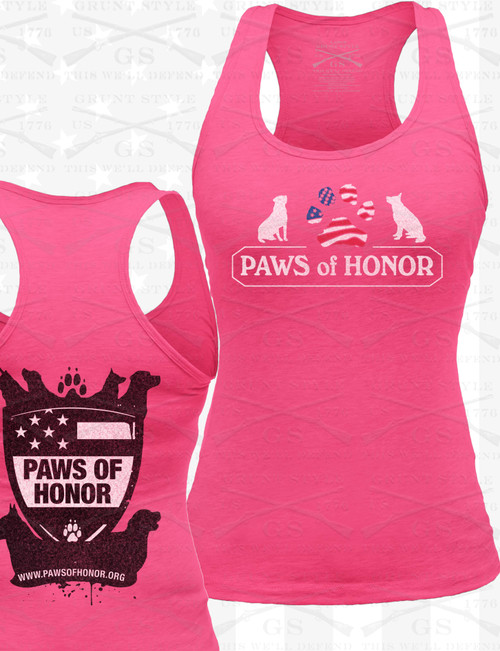Lady's HOT PINK Fitted Razorback Grunt Style Logo Tank Top