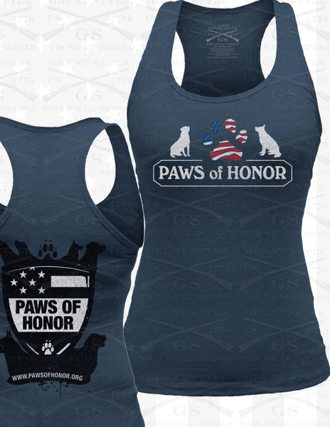 Lady's Fitted Razorback Grunt Style Paw Tank Top - INDIGO BLUE