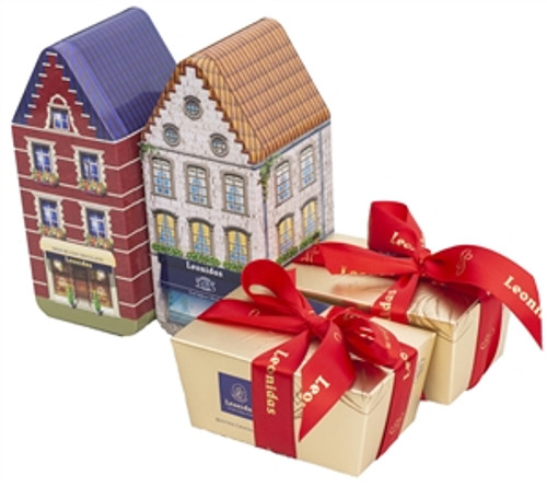 Two Belgian Tin Houses with 250g. (8.8 oz) ballotin in each