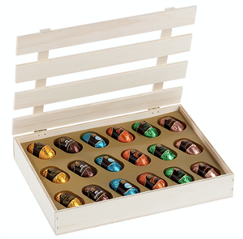 Liquor 18-piece Chocolate Wood Assortment