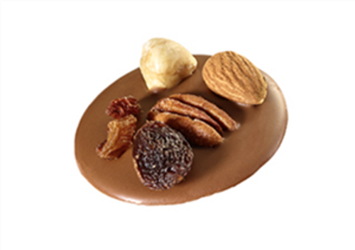 Milk chocolate disc, covered with nuts and dried fruits.