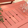 """85"""" Pine Dining Table in the Behren's Collection from Uwharrie Chair Company in Rustic Red, Closeup"""
