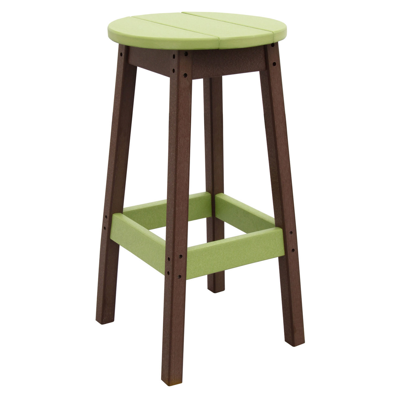 Outer Banks Poly Lumber Backless Barstool Round Outdoor Bar Stool