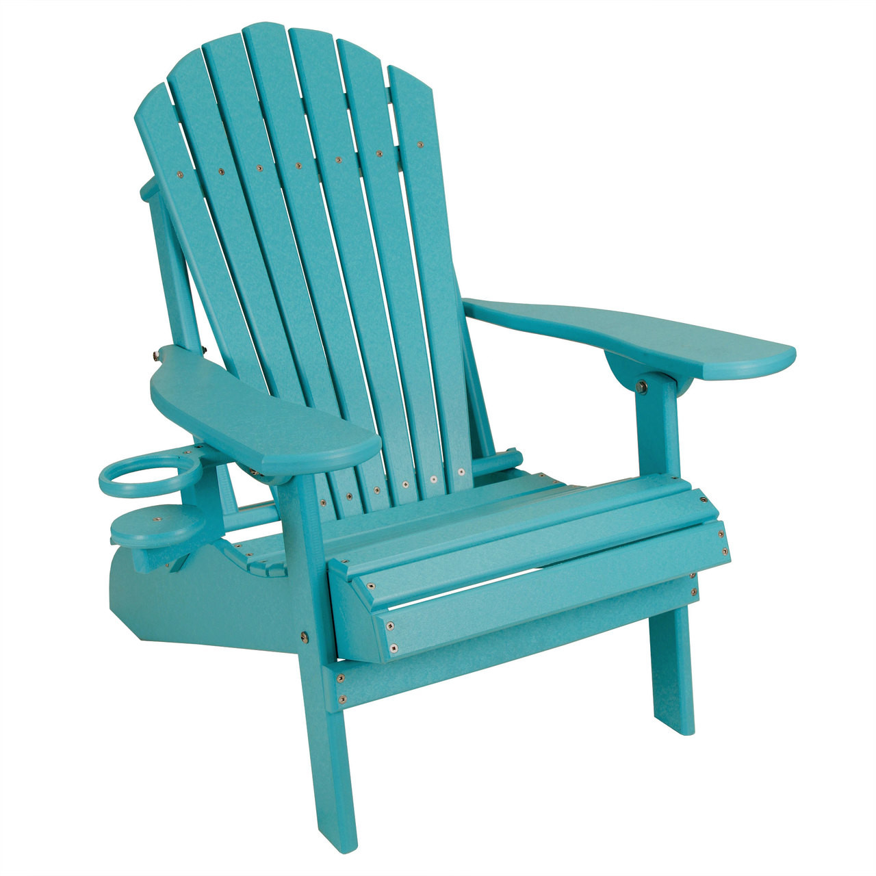 Outer banks child size folding adirondack chair with cup holder aruba blue