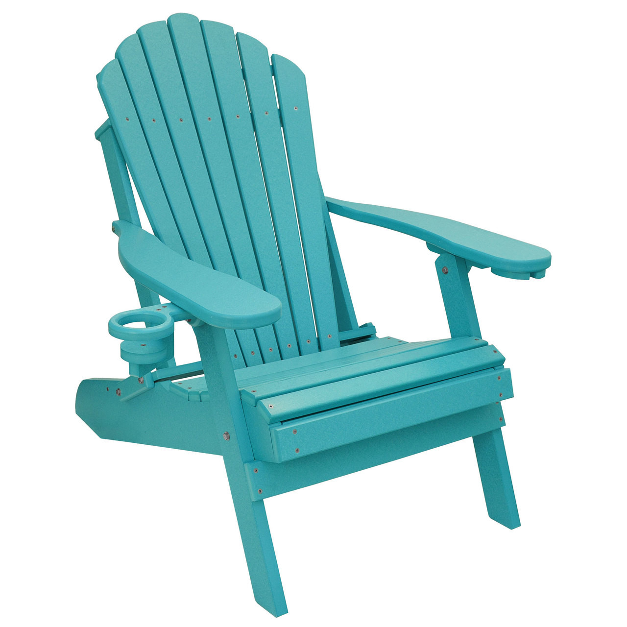 Outer Banks Deluxe Oversized Poly Lumber Folding Adirondack Chair With Cup  Holder   Aruba Blue
