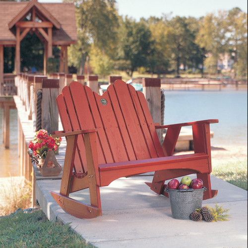 Pine Two-Seater Rocker from Uwharrie Chair Company In Rustic Red