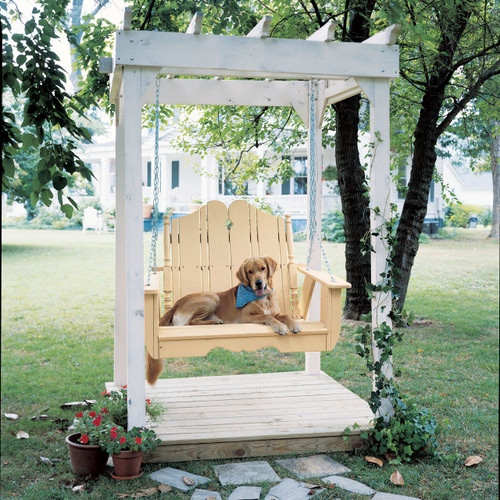 Pine Outdoor Arbor in the Companion Collection from Uwharrie Chair Company in White with Swing