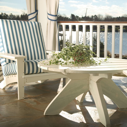 "42"" Polymer Conversation Table in the Chat Collection from Uwharrie Chair Company in White"