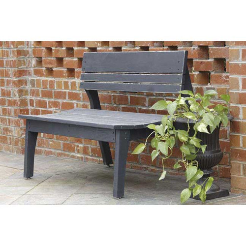 Polymer Three Seat Bench with Back in the Behren's Collection from Uwharrie Chair Company in Black