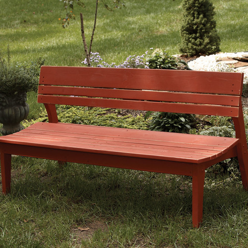 Pine Four-Seat Bench with Back in the Behren's Collection from Uwharrie Chair Company in Rustic Red