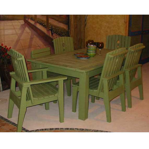 """69"""" Polymer Dining Table in the Behren's Collection from Uwharrie Chair Company in Apple Green with Apple Green Behren's Collection Chairs"""