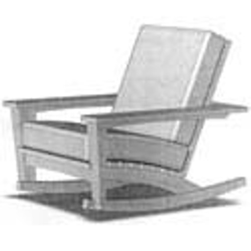 Pine Outdoor Rocker in the Chat Collection from Uwharrie Chair Company Line Drawing