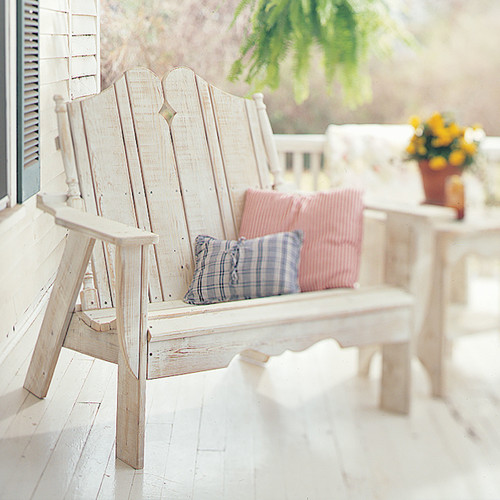 Pine Settee in the Nantucket Collection from Uwharrie Chair Company In White Wash
