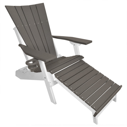 Lake Shore Adirondack Chair with Integrated Footrest - Dark Gray/White