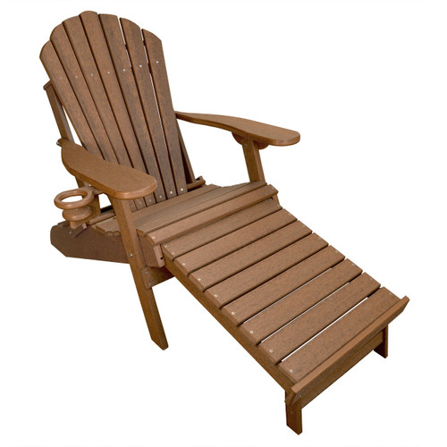 Deluxe Outer Banks Adirondack Chair with Integrated Footrest - Antique Mahogany