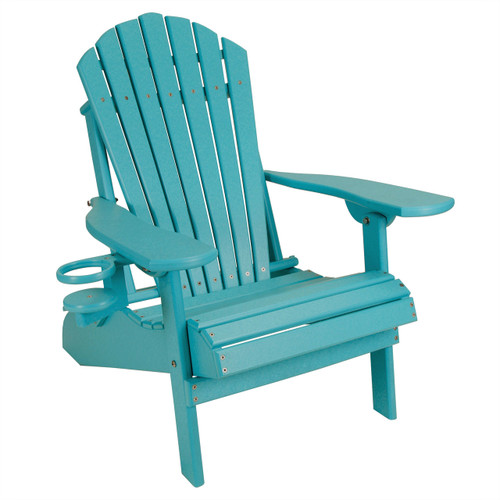 Outer Banks Child Size Folding Adirondack Chair with Cup Holder - Aruba Blue