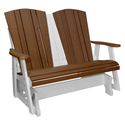 Harbor Collection Double Glider - Antique Mahogany and White