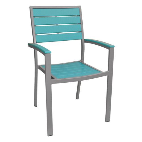 Caribbean Collection Silver Frame Chair - Aruba Blue