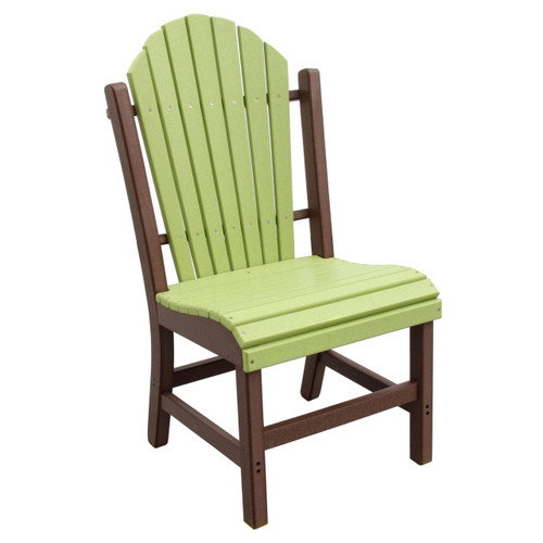 Outer Banks Adirondack Fanback Poly Lumber Side Dining Chair - Lime Green/Tudor
