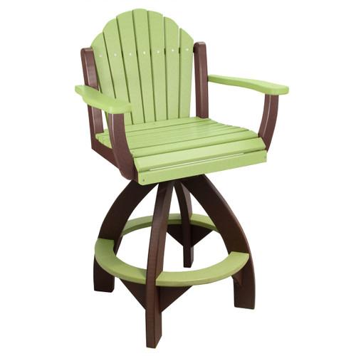 Outer Banks Adirondack Fanback Poly Lumber Swivel Bar Stool   Lime  Green/Tudor
