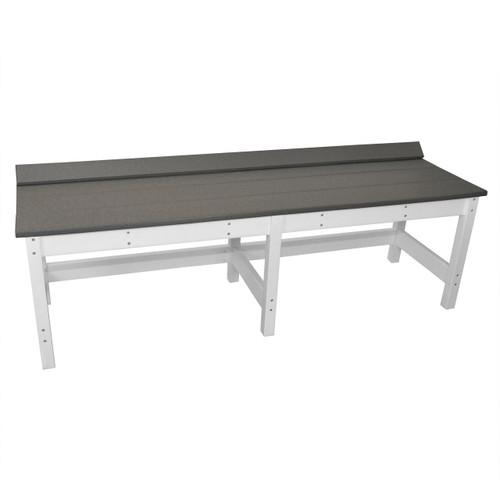 Lake Shore Poly Lumber Outdoor Backless Bench - Dark Gray / White