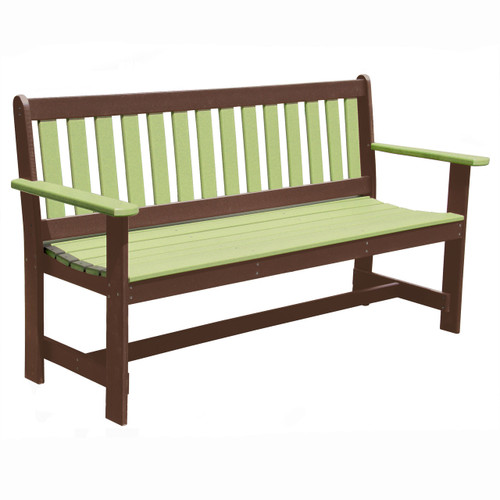 Outer Banks Poly Lumber Bench with Arms - Lime Green/Tudor