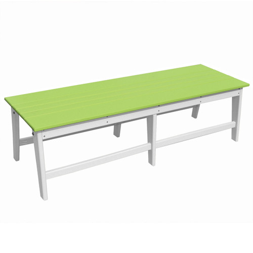 Outer Banks Poly Lumber Backless Bench - Lime Green/White
