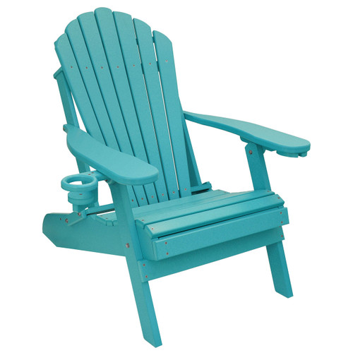 Outer Banks Deluxe Oversized Poly Lumber Folding Adirondack Chair with Cup Holder - Aruba Blue