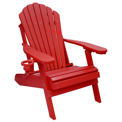 Beau Outer Banks Deluxe Oversized Poly Lumber Folding Adirondack Chair With Cup  Holder   Cardinal Red