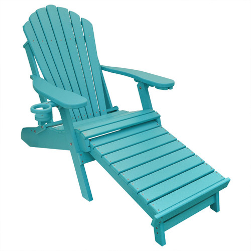 Outer Banks Poly Lumber Folding Adirondack Chair with Integrated Footrest - Aruba Blue