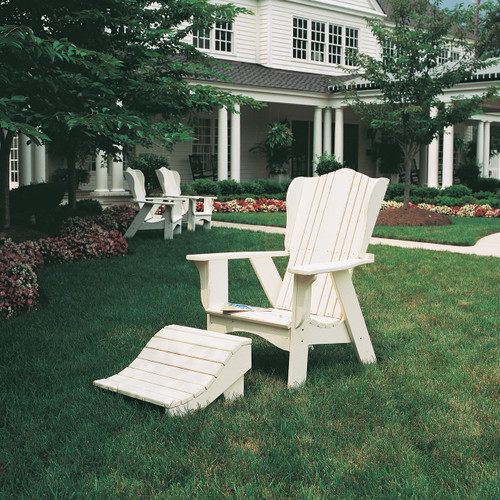 Polymer Foot Rest in the Plantation Collection from Uwharrie Chair Company in White with Adirondack-Style Chair