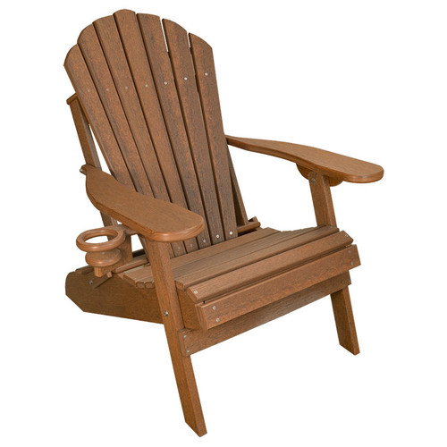 Outer Banks Deluxe Poly Lumber Wood Grain Adirondack Chair - Antique Mahogany