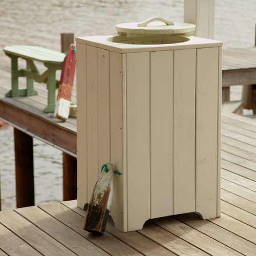 Pine Outdoor Trash Can in the Companion Collection from Uwharrie Chair Company in White