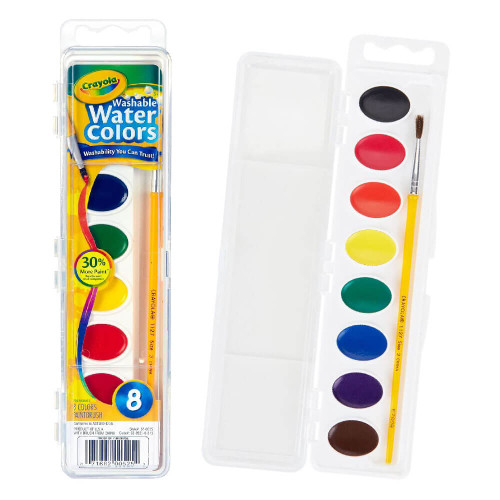 Coloring: Washable Watercolors Pan - 8 Classic Colors with a Brush