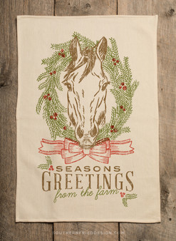 Seasons Greetings From The Farm - Horse - Kitchen Towel