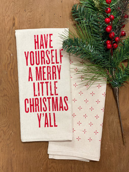 Have Yourself A Merry Little Christmas Y'all Kitchen Towel