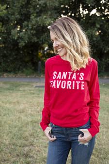 Santa's Favorite Long Sleeve - Red Shirt