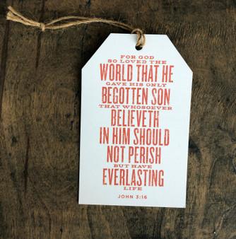 John 3:16 Bible Verse - Oversized Gift Tags