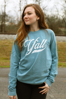 Y'all Script - Ice Blue Long-Sleeve t-shirt