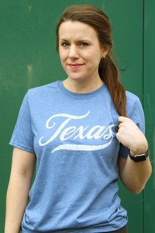 Texas Script - Heather Indigo Blue T-shirt