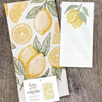 Lemon Pattern Bundle - Kitchen Towel & Notepad