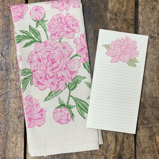 Peony Pattern Bundle - Kitchen Towel & Notepad